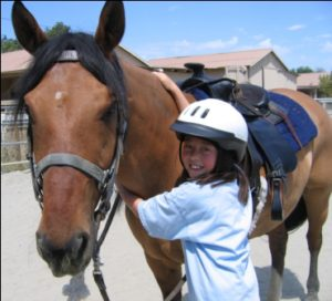 VR Small girl and horse
